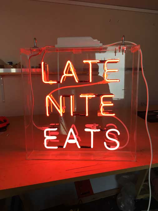 Late Night Eats Neon Sign